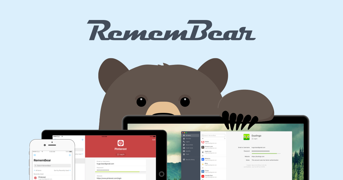 RememBear: The easiest way to remember passwords